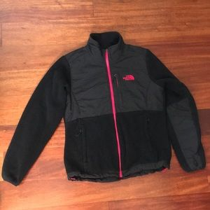 North Face Denali Jacket Black Cerise Pink